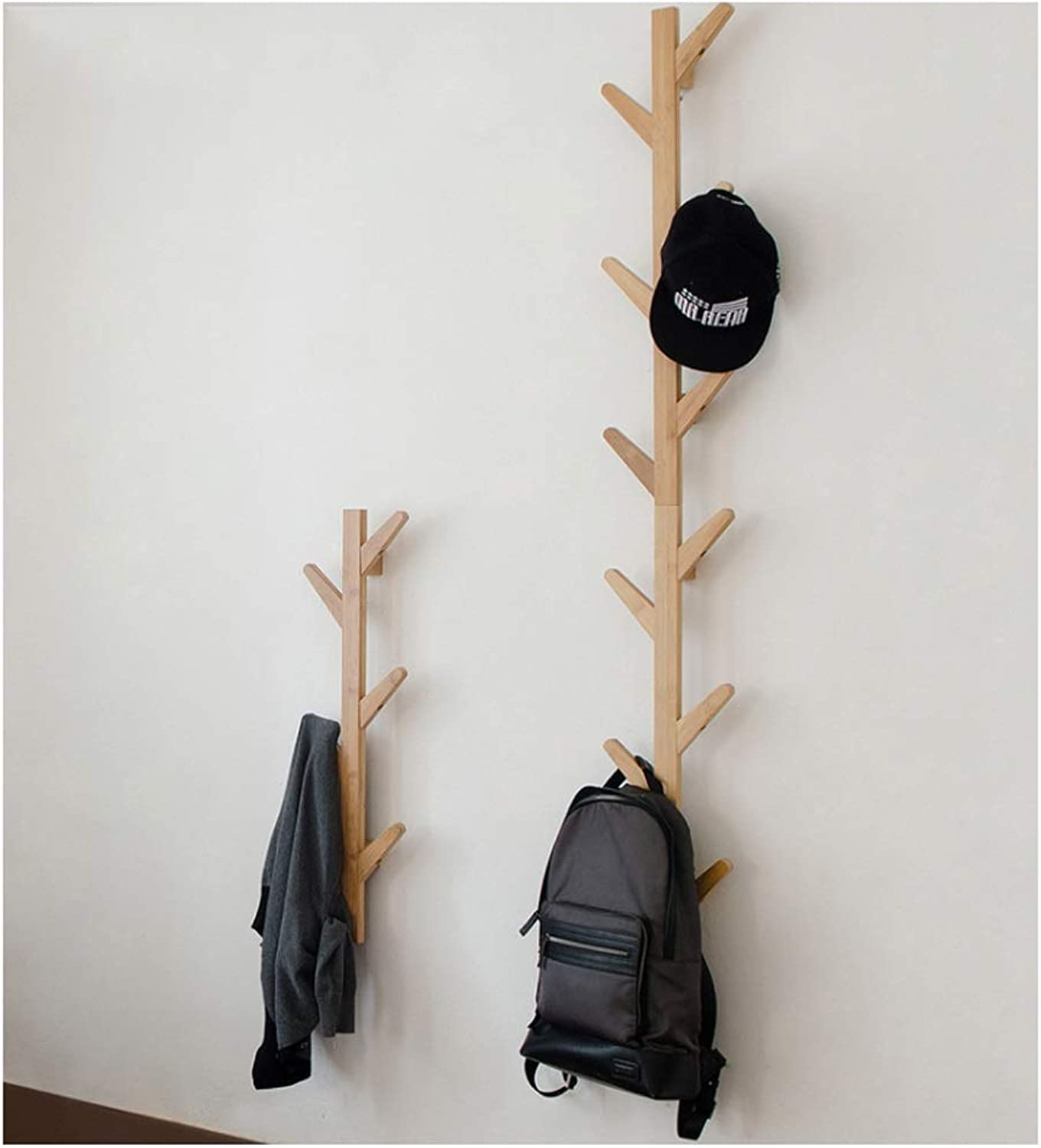 Coat rack hanger Wall coat rack bamboo Coat Rack Vintage Handmade creative Nordic branches hook Coat Hooks for Garage Foyer Bedroom Office (78 98 123CM) (color   Wood, Size   78cm)