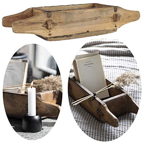 LS-LebenStil Alte Holz Aufbewahrung-Box Ziegelform 1-Fach 4 Griffe Original Unika Cutlery Dekoration