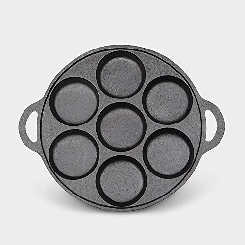 7 Gaten Verdikte Cast Iron Omelet Pan Hamburger Mold Ongestreken Non-stick kokende Pot Egg Dumplings Cake Pie Ontbijt Maken (Sheet Size : 27CM)
