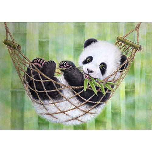 AYLCFC DIY 5D Diamond Painting Kits for Adults Panda in Hammock Cross Stitch Full Drill Crystal Rhinestone Embroidery Pictures Arts Craft for Home Wall Decor Gift-40x50cm
