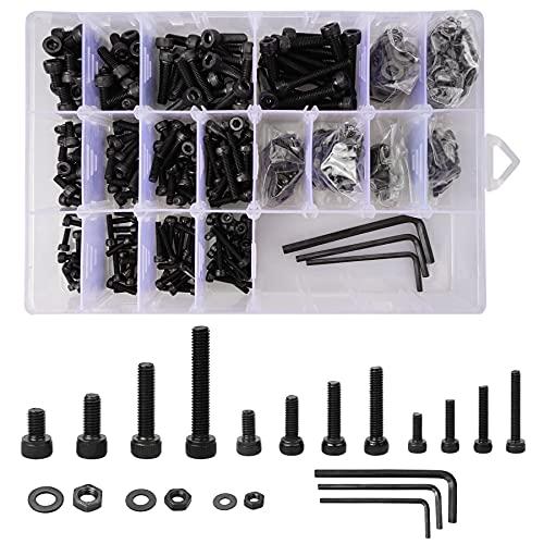 Innensechskantkopf-Schrauben aus Kohlenstoffstahl, 723 Stück Sechskantkopf- Bolzen, Muttern und Unterlegscheiben Sets mit Schraubenschlüssel, M3 M4 M5 Bolzen und Mutter Sets für Ersatz