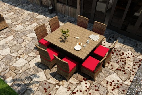 Hot Sale Forever Patio Cypress 9 Piece Modern Outdoor Wicker Square Dining Set with Red Sunbrella Cushions (SKU FP-CYP-9SQDN-HR-FB)