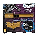 Flashlight shows the Bat light Requires 3 AA batteries Easy push power button Also includes two batarangs Look for other Officially Licensed Batman Dark Knight accessories