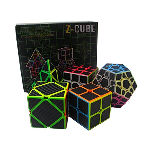 EasyGame Speed Cube Puzzle Pack | 2X2 3X3 Skewb Cube Pyraminx Cube, Megaminx Cube Firbe Carbon Stickerless Cube Set | 5 Pieces Magic Cubes Collection | Puzzle Toys Brain Teaser Gifts By