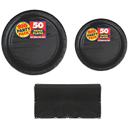 Serves 50 | Big Party Pack Black 50-Set (Dinner Plates, Dessert Plates, Luncheon Napkins) Party Avenue Bundle-Pack | Complete Party Pack | Graduation Party, Office Party, Birthday Party, Black Theme