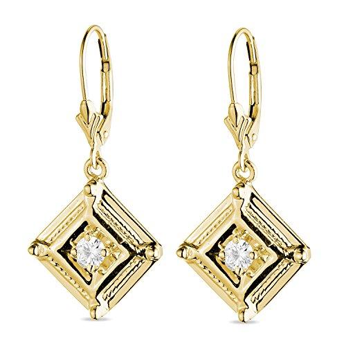 Charles & Colvard Forever One paio di orecchini pendenti - oro giallo con 14K - Moissanite da 3.5 mm con taglio rotondo, 0.32 kt.