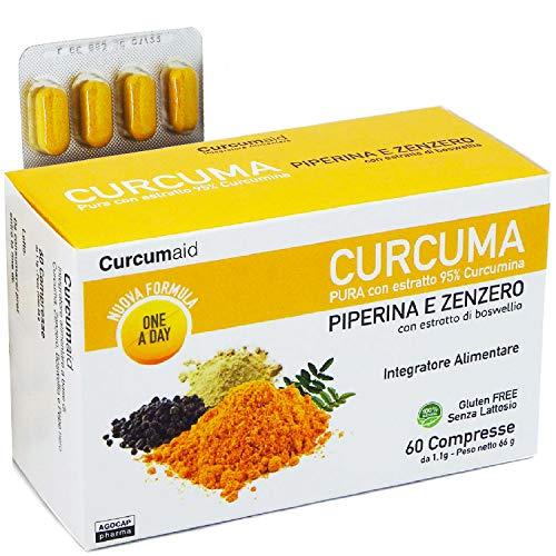Agocap CURCUMA E PIPERINA PLUS 95% - 60 Compresse curcuma e piperina IN BLISTER con estratto di Zenzero e Boswellia [formula ONE A DAY] Integratori Alimentari 100% ITALIA Curcuma e Zenzero