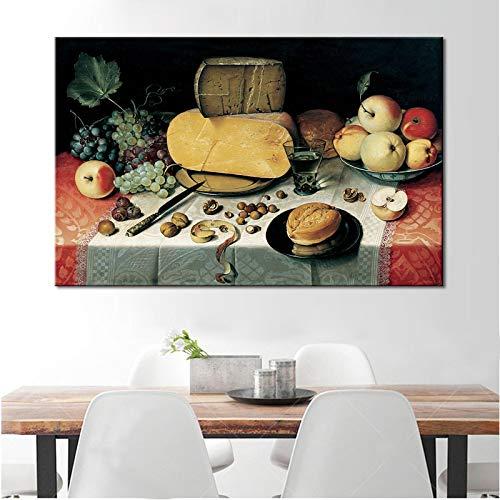 Carteles e impresiones de la vida tradicional Arte de la pared Pintura en lienzo Frutas y pan Cuadros decorativos para la decoración del comedor 24x44cm (9x17in) Sin marco