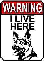 警告私はここに住んでいますブリキの看板壁の装飾金属ポスターレトロプラーク警告看板オフィスカフェクラブバーの工芸品