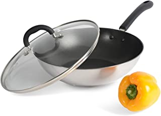 ProCook Gourmet Steel - Wok Inox Induction - 28 cm - Revêtement Antiadhésif Sans PFOA - Avec Couvercle Verre Trempé - Manc...