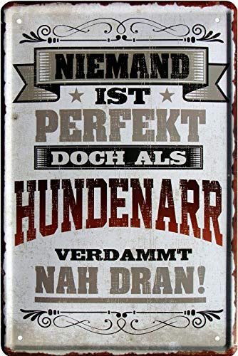 Niemand is perfect, maar als hondenmand 20x30 cm metalen bord 2134