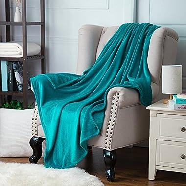 Bedsure Flannel Fleece Luxury Blanket Teal Throw Lightweight Cozy Plush Microfiber Solid Blanket