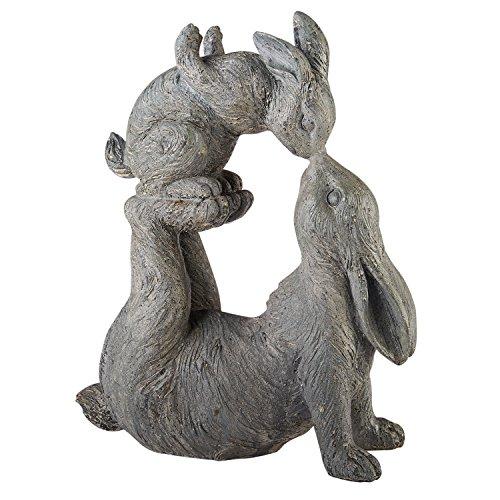 ART & ARTIFACT Kissing Rabbits Garden Sculpture - Parent Child Bunny Yard Decor