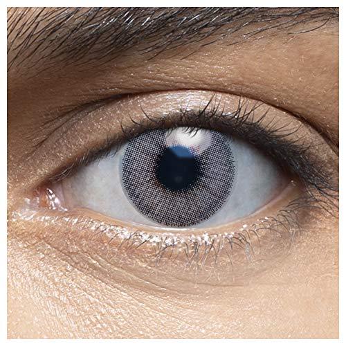 Sehr stark deckende und natürliche blaue Kontaktlinsen farbig MUSCAT LIGHTGREY + Behälter von LENSART - 1 Paar (2 Stück) - DIA 14.00 - ohne Stärke 0.00 Dioptrien
