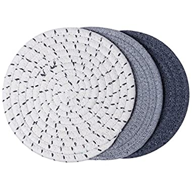 Lifaith 100% Cotton Thread Weave Pot Holders, Hot Pads, Pot Holders, Spoon Rest, Jar Opener & Coasters, For Cooking and Baking, Diameter 7 Inches, Round, Set of 3, Grey Set