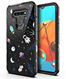 PBRO LG K51 Phone Case,LG Reflect/LG Q51 Case Cute Astronaut Case Dual Layer Soft Silicone & Hard Back Cover Heavy Duty PC+TPU Protective Shockproof Case for LG K51-Space/Black