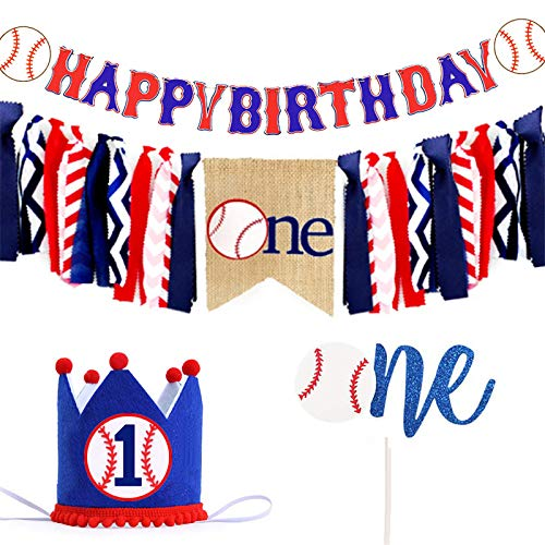 Full Win Shop Baseball Happy Birthday Banner | Baseball Highchair Banner - Baseball Cake Topper - Baseball Birthday Crown - Baseball Theme Handmade 1st First Birthday Banner for Baby Shower Party Supplies