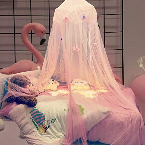 YLLN Mosquitera para niños con dosel rosa y cúpula redonda de ensueño con alfileres y luces de cadena de estrellas de 6 m, cortina de cama para tiendas de campaña para niñas, cama para niños, cama par