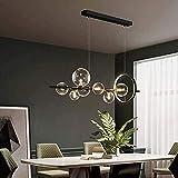 Lampadario a LED nero nordico Lampadario a bolle di vetro chiaro Paralume Sala da pranzo Negozio di stoffa Lampadario a sospensione Illuminazione Lampadina G9 (Colore: 90x30cm)