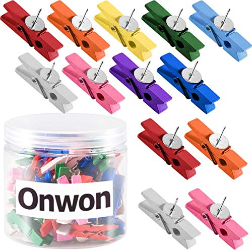 Onwon 50 Pieces Wooden Clips with Push Pins Wood Clip Thumbtack Clothespins Decorative Craft Paper Clips Pushpins Tacks for Notes Photos Cork Boards Bulletin Board Craft Projects