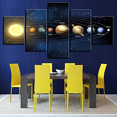 lcyqq Impresiones en Lienzo abstractas Coloridas Obras de Arte de 5 Paneles Sistema Solar Pinturas de Planetas Imagen en Lienzo para Sala de Estar Oficina en casa Pared
