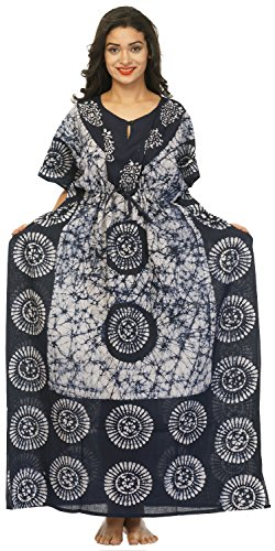 Cotton Kaftan Dress Maxi Long Tunic Batik One Size (White-Black)