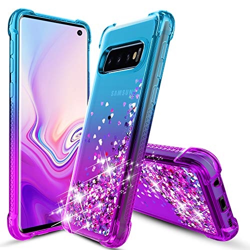 Samsung Galaxy S10 Case, OEAGO Flowing Liquid Floating Bling Glitter Sparkle TPU Bumper Shockproof Girls Women Case for Samsung Galaxy S10 (6.1'' Inch 2019) - Teal Purple