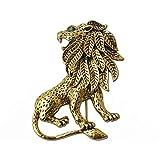 Broche de león de aleación unisex vintage chapado en oro para traje de ropa
