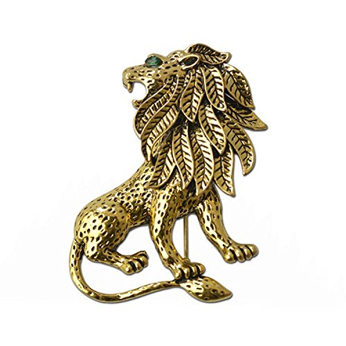 Vintage Unisex Alloy Lion Brooch Pin Gold Plated for Suit Clothing