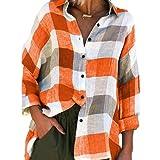 Camisa de Mujer a Cuadros de Gran tamaño, Tendencia a Juego de Colores, Suelta, Ocio, Vacaciones al Aire Libre, Ropa de Calle, cómodas Camisas básicas S