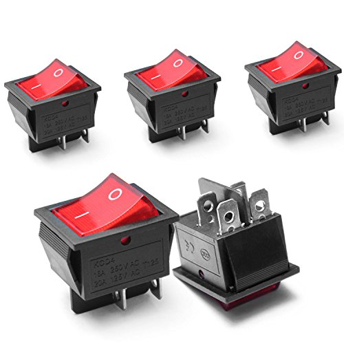 Ytian 5Pcs Lumière on/Off DPST Bateau Interrupteur à Bascule 16A/250 V/20A 125 V AC 4 Broches Rouge