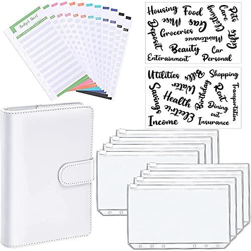 Gfhrisyty Carpeta de Cuaderno de Cuero PU A6 Bloc de Notas de PlanificacióN Presupuestaria, 6 Fundas de Carpeta de Anillas, 8 Bolsillos de Carpeta, 12 Hojas de Presupuesto de Gastos A