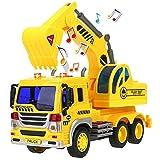 HERSITY Camion Pelleteuse Jouet Excavatrice avec Son et Lumière Voiture de Construction Vehicule de Chantier Cadeau pour Enfant