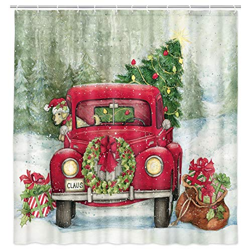 MERCHR Weihnachts-Duschvorhang, niedlicher H& mit rotem Weihnachtsmannmütze, rustikaler roter LKW-Stoff, Duschvorhang, für Kinder, Urlaub, Badezimmer, 175 x 178 cm