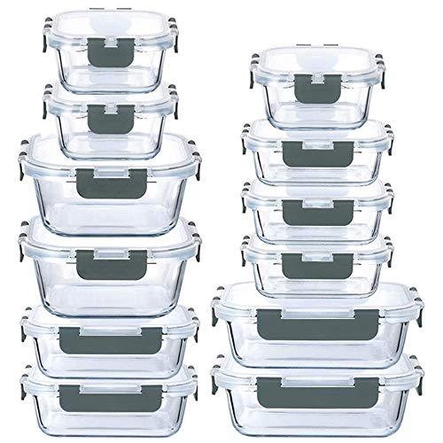 24-teiliges Vorratsdosen-Set aus Glas mit verschließbaren Deckeln, auslaufsicher, Mahlzeiten-Vorbereitungsbehälter (grau)