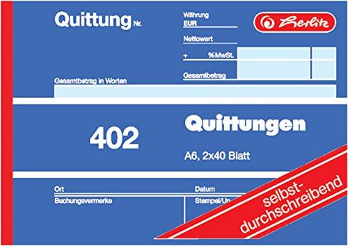 Herlitz Quittungsblock 402, selbstdurchschreibend, A6 quer, 2 x 40 Blatt, Quittung 402