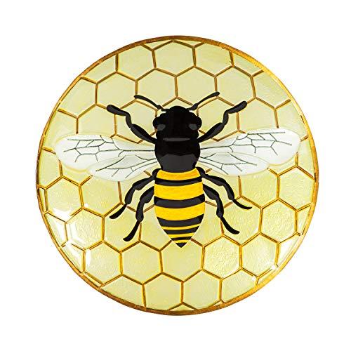 Evergreen Garden Beautiful Summer Bumble Bee Outdoor Glass Bird Bath - 18 x 18 x 3 Inches Fade and...