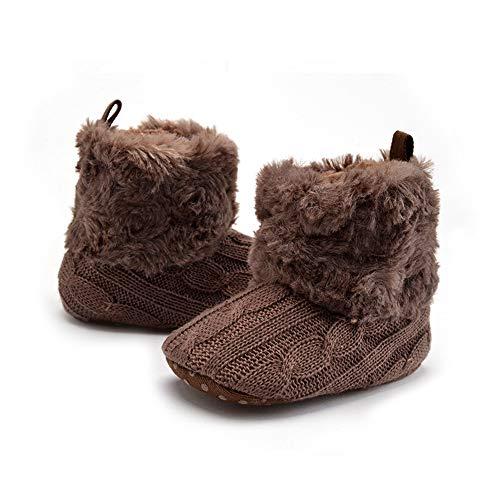 Winter Peuter Schoenen, Kids Knit Zachte Bont Warm Sneeuw Laarzen wieg Schoenen voor 0-18 Maanden Baby 13cm DONKERBRUIN