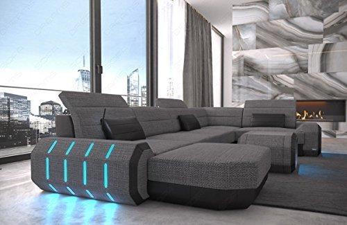 Tela Paisaje residencial Sofá de tela Roma en forma de U Cuero Tela Mix con iluminación LED
