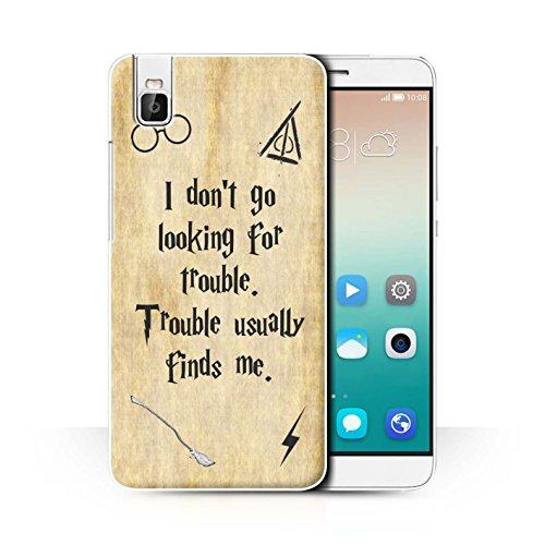 Hülle Für Huawei Honor 7i/ShotX Schule der Magie Film Zitate Trouble Finds Me Design Transparent Ultra Dünn Klar Hart Schutz Handyhülle Case