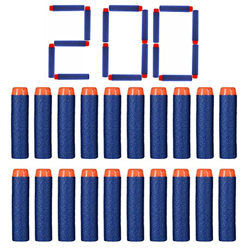 FHD Nerf Relill Bullet Compatible Bullet Dardos Soft Tip Blasters Kid Toy Gun para Nerf Toy Gun N-Strike Elite Series 50/100/200/300/400/500/600/1000 Pack Blue (200 PCS)