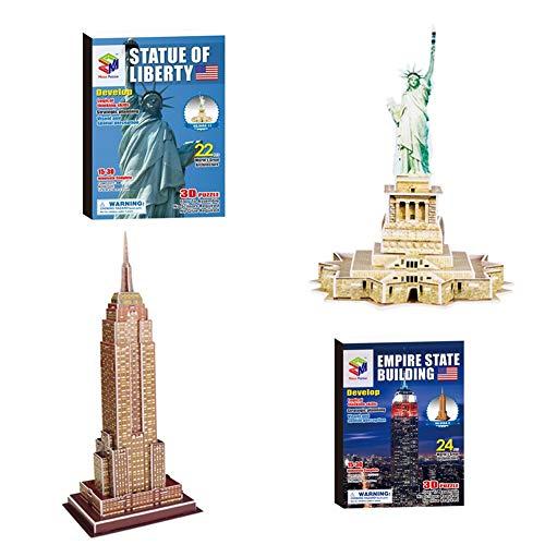 Niños DIY 3D Rompecabezas de Edificios Famosos del Mundo, 3D Model Development Toy, Jigsaw Puzzle para Niños Adultos 2 Paquetes (Statue of Liberty+Empire State Building)