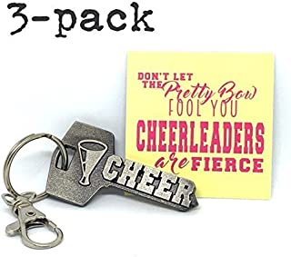 3-Pack key2Bme Cheer Key - Megaphone Cheerleader Keychain & Inspirational Quote - The Cute Cool Fun Unique Small Spirit Cheerleading Team Gift Under $10 for Giving Kid Teens Friends Girls Coach Women