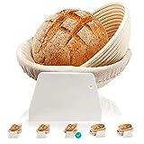 Set di 2 cestini rotondi ovali per pane e impasto, realizzati in rattan naturale, ideale come cestino per il pane con inserti in lino, raschietto per impasto (22 + 25 cm)