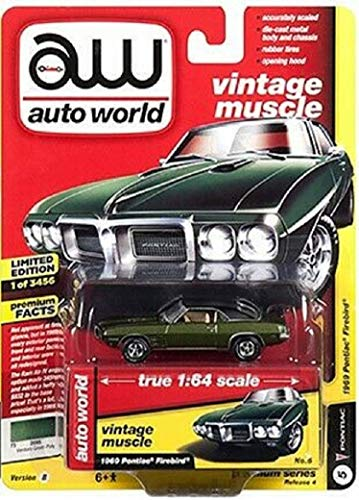 1969 Pontiac Firebird Verdoro Green Poly with Flat Black Roof Vintage Muscle Limited Edition to 3,456 Pieces Worldwide 1/64 Diecast Model Car by Autoworld 64192/ AWSP018 B