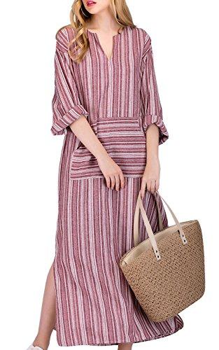 MAGIMODAC dames maxi-jurk zomerjurk jurk boho party jurk linnen jurk strandjurk lang grijs maat 36-50