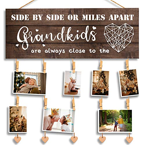 Grandma Gifts Nana Grandma Photo Holder, Gifts for Grandmother Grammy Present from Granddaughter and Grandson, Clips and Twine for Photo Hanging, Grandkids Photo Frame for The Best Grammy Ever Gifts