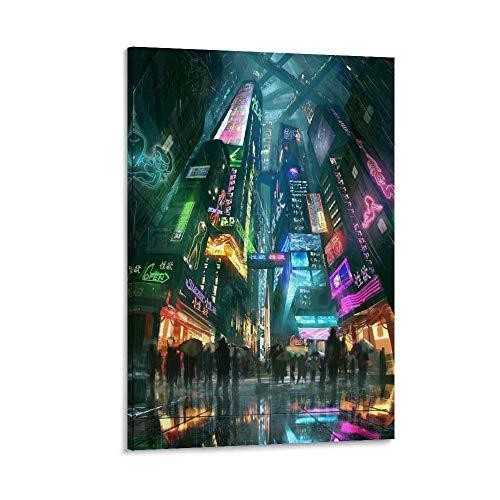 Neon City Kunst-Poster auf Leinwand, modernes Design, 20 x 30 cm