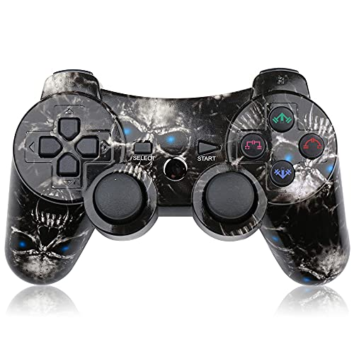 CHENGDAO Wireless Controller Compatible with Playstation 3 with High Performance Motion Sense Double Vibration and Charging Cable (Skull)