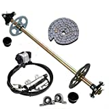 DENESTUS Upgraded 740mm Go Kart Live Rear Axle Complete Kit with Brake Assembly and T8F Chain Sprocket for DIY or Quad Trike Golf Carts (US Wrehouse)